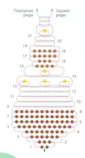 Пирожное из бисера схема