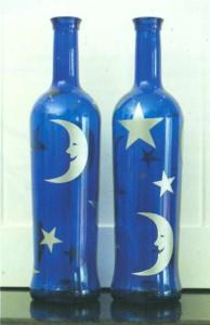 Бутылки со звездами и луной
